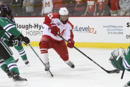 Coleman netted a hat trick on Saturday night to carry #1 Miami to victory. (Miami University Athletics)