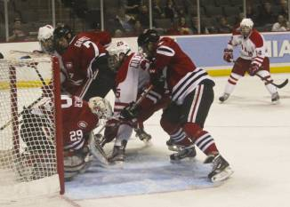 Blake Coleman goes hard to the net against SCSU in the 2013 NCAA Regional Final. (Miami University Athletics)