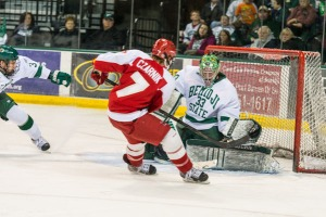 Austin Czarnik takes a shot in last weekend's series against Bemidji State. (Photo: Bemidji State Beavers)