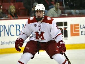 Miami defenseman Matthew Caito (photo by Cathy Lachmann).