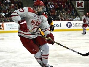 Miami defenseman Scott Dornbrock (photo by Cathy Lachmann).