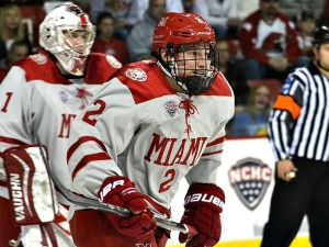 Miami defenseman Taylor Richart (photo by Cathy Lachmann).