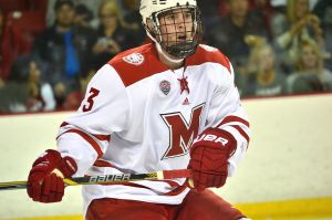 Miami defenseman Colin Sullivan (photo by Cathy Lachmann).
