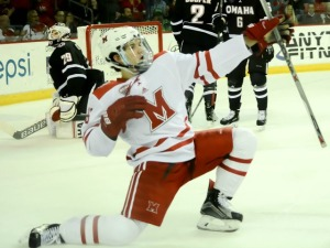 Miami's Jack Roslovic celebrates his go-ahead goal late in the second period (photo by Cathy Lachmann).
