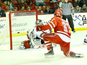 Miami's Josh Melnick rips this shot home for the first RedHawks goal (photo by Cathy Lachmann).