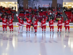 Miami's seniors are honored before Saturday's game (photo by Cathy Lachmann).