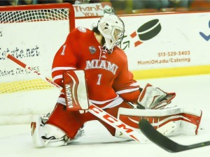 Jay Williams makes one of his 24 saves on Saturday (photo by Cathy Lachmann).
