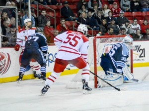 Miami's Grant Hutton scores on this second-period shot (photo by Cathy Lachmann/BoB).