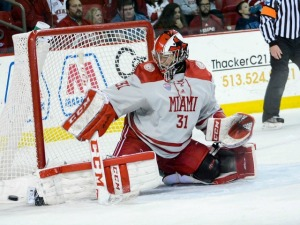 Including this one, Ryan Larkin turned 33 shots aside to lead Miami (photo by Cathy Lachmann/BoB).
