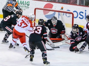 Miami's Josh Melnick (37) bangs home the game-winning goal in overtime (photo by Cathy Lachmann/BoB).