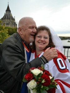 Denis White gives Cathy away at her wedding in Ottawa, Canada.