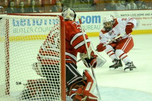 Justin Greenberg as a junior, scoring his lone goal that senior vs. RPI (photo by Cathy Lachmann/BoB).