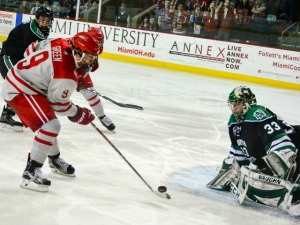 Miami's Gordie Green goes in for a scoring chance on Friday (photo by Cathy Lachmann/BoB).