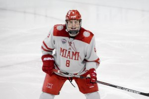 Miami defenseman Chaz Switzer (photo by Cathy Lachmann/BoB).